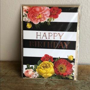 Floral Stripe Happy Birthday Card w/Envelope